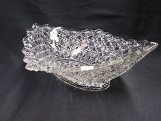 EAPG Glass Daisy and Button Bowl  Oval Diamond Glass Bowl - Etagere Antiques   - 5