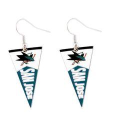 San Jose Sharks earrings: pennant earring dangle