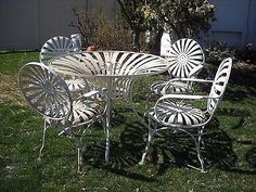 francois carre 1930s garden furniture sunburst wrought spring
