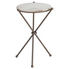 Arteriors Chloe Antique Brass/Marble Accent Table