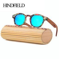 7d338c1c78 HINDFIELD Wood Sunglasses Women Handmade Round Bamboo Sun Glasses For Men  Polarized Mirror Coating Lenses Eyewear gafas de sol