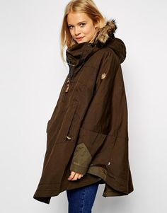 Image 1 of Fjallraven Waxed Cape Coat With Fur Trim Hood