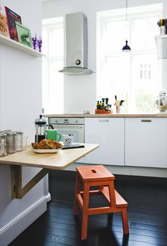 Fold down table & Step stool for eat in kitchen - Popping Up in the Kitchen: The BEKVÄM Step Stool From IKEA Kitchen Interior, Kitchen Inspirations, House, Home, Ikea Bekvam, Ikea, Home Kitchens, Ikea Step Stool, Ikea Hack Storage