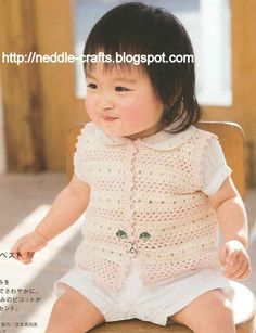 شغل ابره NEEDLE CRAFTS: جيليه كت للاطفال صيفي - baby crochet
