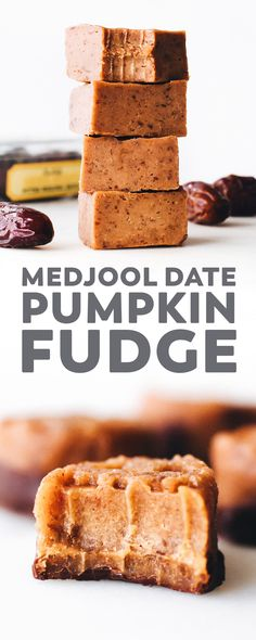 Healthier pumpkin fudge with medjool dates pumpkin cashew butter and dark chocolate. The perfect easy vegan and paleo melt in your mouth Halloween treat! Pumpkin Fudge, Vegan Pumpkin, Healthy Pumpkin, Pumpkin Dessert, Paleo Dessert, Healthy Dessert Recipes, Pumpkin Recipes, Fall Recipes, Vegan Recipes