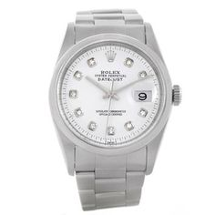 Rolex Rolex Datejust Mens Stainless Steel Whitw Diamond Dial Watch