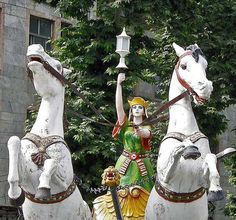 Anahita Persian Goddess of Water Statue, Fouman, Gilan, Iran Anahita rides her chariot with two white horses, holding a lantern which is the symbol of light and wisdom. Anahita sheds light and wisdom to the good Aryans (Noble Folks).