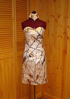 Slim Fit White Camo dress with back straps & collar. See other pics for back view of this dress.  (This dress can be found on Ebay)