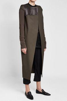 RICK OWENS - Asymmetric Cotton Coat | STYLEBOP Asymmetrical Coat, Grey Fashion, Sweater Jacket, Rick Owens, Duster Coat, Grey Style, Feminine, Sweaters, Cotton