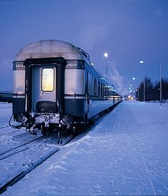 Santa Express, Finland. The Finnish double-decker night train, known as the Santa Claus Express, travels from Helsinki to snow-covered Lapland in the north. The train stops at Rovaniemi, the official home of Santa Claus, and then goes on to Kemijärvi, its final destination. See the beauty of Finland from the comfortable compartments of this train and wake up above the Arctic Circle the next morning.