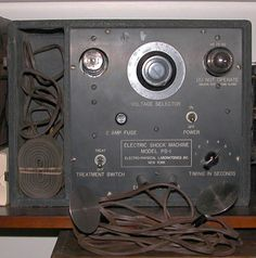 electro-shock machine (ca. 1930) This electro-shock machine was made famous for the treatment of various mental disorders in the movie One Flew over the Cuckoo's Nest. A similar device is still being used (effectively) for the treatment of depression.