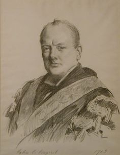 John Singer Sargent - Portrait of Churchill wearing his official robes as Chancellor of the Exchequer, 1929 - National Trust Collections Fine Art Drawing, Pencil Portrait, Painter, Famous Artists, Portraiture, John Singer Sargent, Portrait, Singer Sargent, American Artists