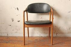 Mid Century Leather Chair Danish Modern Wood by OTHERTIMESvintage