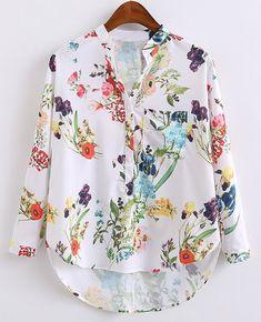 $12.65 Fashionable Women's V-Neck Long Sleeve Print Colorful Blouse