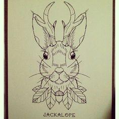 Jackalope woodland tattoo by kayleen scott
