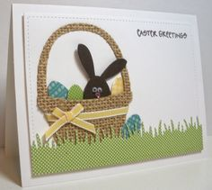 handmade card ... Think Outside the Box: Easter Greetings ... burlap die cut basket ... luv the chocolate bunny head with googly eyes ... polka dot paper for grass ... luv it!