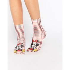 ASOS Disney Minnie And Mickey Mouse Ankle Socks (€7,42) ❤ liked on Polyvore featuring intimates, hosiery, socks, multi, asos, patterned ankle socks, tennis socks, asos socks and patterned socks