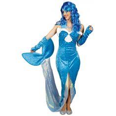 Blauw zeemeermin kostuum voor dames. Dit zeemeermin kostuum bestaat uit een jurk met lange staart en handschoenen. Materiaal: 100% polyester.