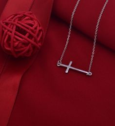 Hot sales Side way cross chains women pendants 925 sterling silver necklace Christmas gift, free shipping