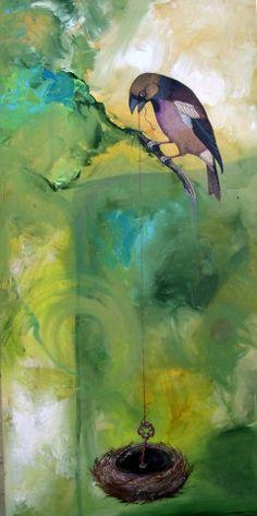 Wan Marsh Studio, Finders Keepers   24x48 mixed media on canvas
