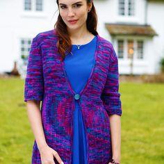 """A full length cardigan knitting pattern in the lovely soft artesano handpainted dk."""