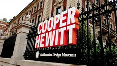 Cooper Hewitt Smithsonian Design Museum ID signage integrated into the fence. Engineering and fabrication by DCL. Wayfinding Signage, Signage Design, Exterior Signage, Design Museum, Experiential, Quad, Planer, Fence, Designer