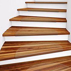 Casa Pura Clear Polycarbonate Stair Treads For Hard Floors, 15 Piece Set  (17 X