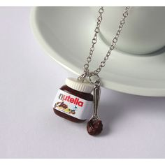 Nutella necklace with spoon or knife charm kawaii sweet (22 CAD) ❤ liked on Polyvore featuring jewelry, necklaces, pendant jewelry, charm necklace, charm pendant, pendant charms and pendants & necklaces