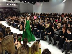 Apple green evening gown at #Dior #PFW #Diorlive