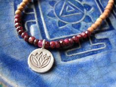 Lotus necklace modern mala with fine silver lotus and rubies $46.00