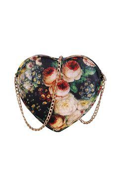 bc6a7bdd4a6f Shop Heart-shaped Floral Print Chain Shoulder Bag at Pariscoming
