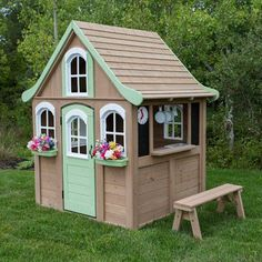 Outdoor Play House Cedar Backyard Wooden Kids Cottage Clubhouse Playhouse Toy Play Houses