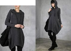 Fashion Women Black/Greay Knit Hoody Soft Wool Yarn Women Sweater Spring Autumn Top Dress Loose Fit Dress Clothes W/ Hat