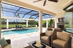 Lovely indoor pool with patio area,  TV and fireplace just add the grill and mini kitchen with bar and we are all set!!