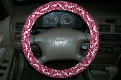 Red and White Damask Steering Wheel Cover. $15.00, via Etsy.