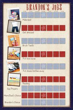 A creative and personalized chore chart that will teach my son about his responsibilities