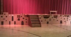 Bethlehem backdrop (used to disguise stage), made from cardboard & marker.  Details on Christmas in Bethlehem.
