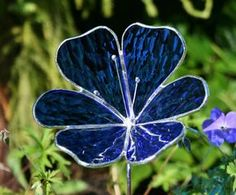 Stained Glass Royal Blue Flower Garden Ornament