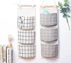 HomRing 2 Packs Linen Cotton Fabric Wall Door Closet Hanging Storage Bag 3 Pockets Over The Door Organizer for Room Bathroom with Elephant Coaster Wall Hanging Storage, Hanging Closet Organizer, Door Shoe Organizer, Door Storage, Storage Basket, Regal Bad, Clear Desk, Over The Door Organizer, Storage Sets