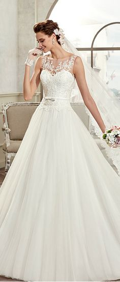 Modest Tulle & Satin Bateau Neckline A-Line Wedding Dresses With Beaded Lace Appliques