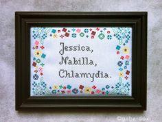 """""""Jessica, Nabilla"""", Chlamydia (17x22 cm cadre inclu)"""