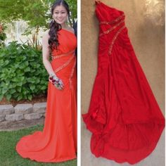 Red formal/prom dress Bit of a train. One shoulder.excellent condition. Beautiful dress. Dresses Maxi