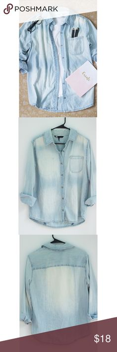 Denim Button Up Top A light denim oversized button up shirt with washed out coloring. Tops Button Down Shirts