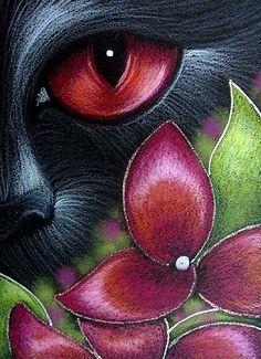 Art: BLACK CAT BEHIND THE HYDRANGEA FLOWERS 6 by Artist Cyra R. Cancel