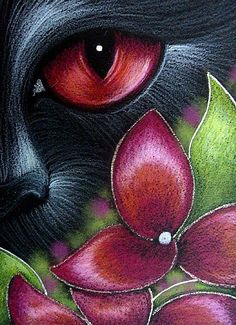 Art: BLACK CAT BEHIND THE HYDRANGEA FLOWERS 6 by Artist Cyra R. Cancel