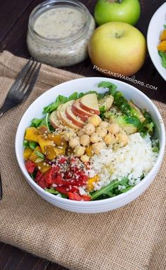 This simple and healthy Fall Buddha Bowl with Maple Tahini Dressing is an easy vegan, gluten free lunch or dinner recipe. You won't be able to stop eating this dressing! | www.pancakewarriors.com
