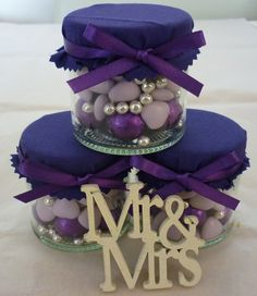 Purple Filled Wedding Favour Sweet Jar. £2.69, via Etsy.