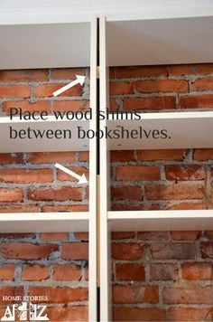 Hack: Billy Built-in Bookshelves (Part 1 IKEA Billy bookcase hack to look like built-ins. Some more good tips in this one.IKEA Billy bookcase hack to look like built-ins. Some more good tips in this one. Ikea Billy Bookcase Hack, Built In Bookcase, Billy Bookcases, Build In Bookshelves, Bookshelves Ikea, Ikea Billy Hack, Floor To Ceiling Bookshelves, Ikea Shelves, Wall Shelves