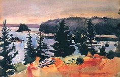 Fairfield Porter - Maine -Toward the Harbor (1967) - view from Great Spruce Head Island near Rockland