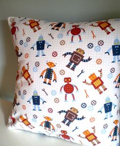 Robot Adventure cushion / pillow cover- perfect for kids bedroom boys gender neutral